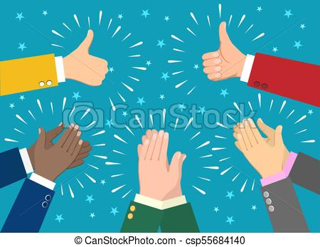 450x347 Hand Claps. Clapping Businessman Hands Vector Illustration, Human