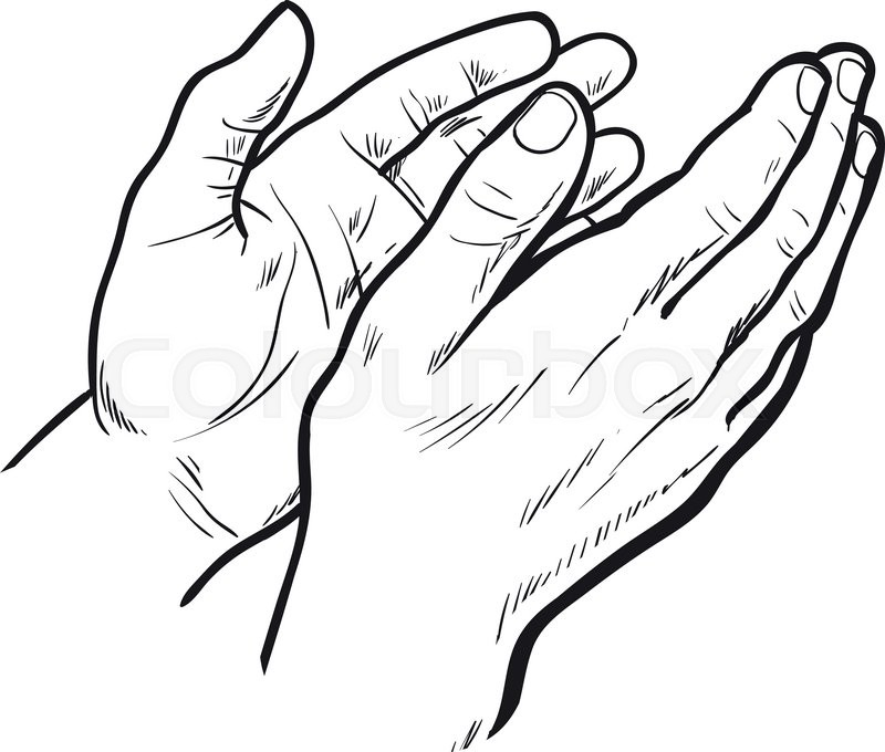 800x680 Hands Clap. Vector Hand Drawn. Circuit Hands. Symbol Of Applause