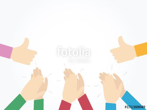 500x375 Human Hands Clapping. Applaud Hands. Vector Illustration. Stock