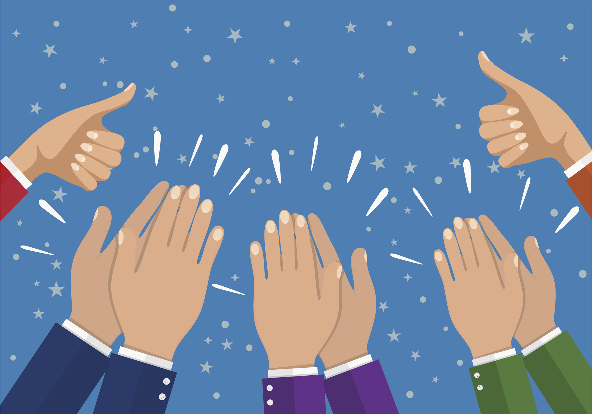 2072x1447 Human Hands Clapping. Applauding Hands. Vector Illustration In