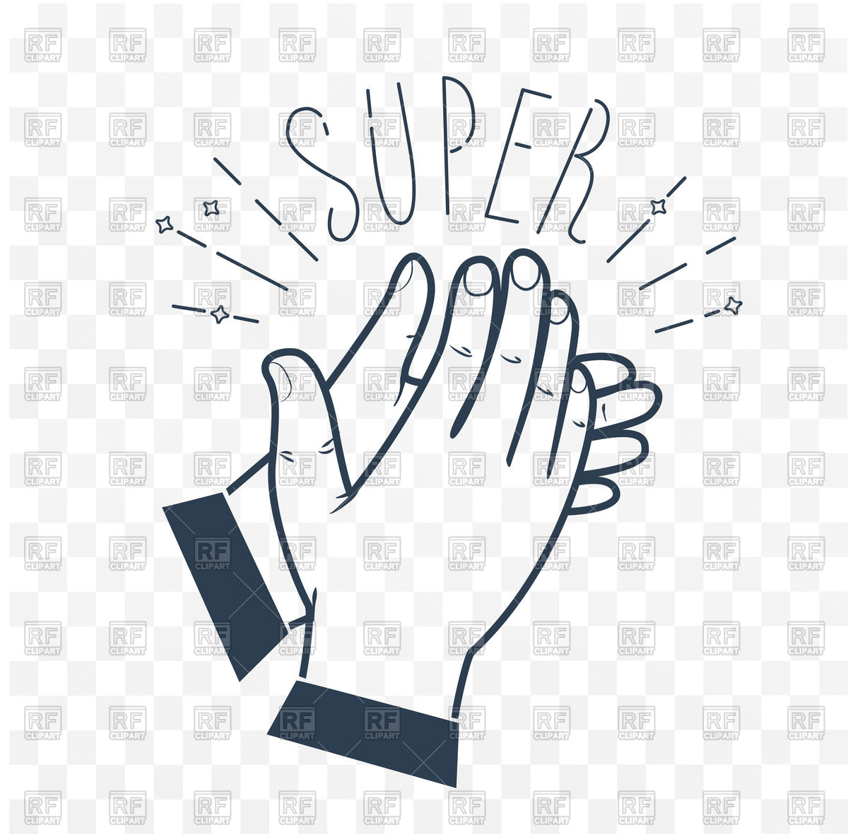 1200x1181 Icon Clapping Hands With Text Super Vector Image Vector Artwork