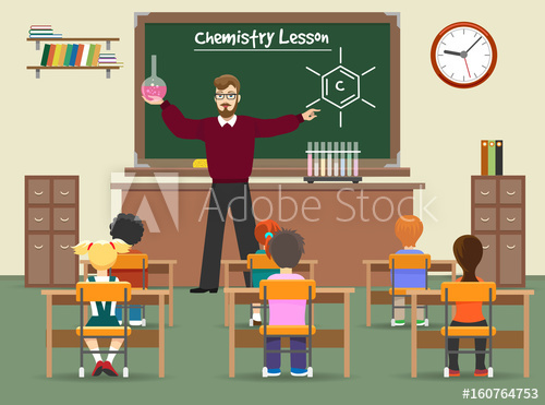 500x371 Chemistry Lesson Classroom Vector Illustration. School Chemistry