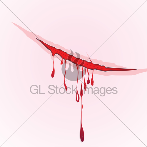 500x500 Claws Scratch Blood Drops Background. Vector Damage Illus... Gl