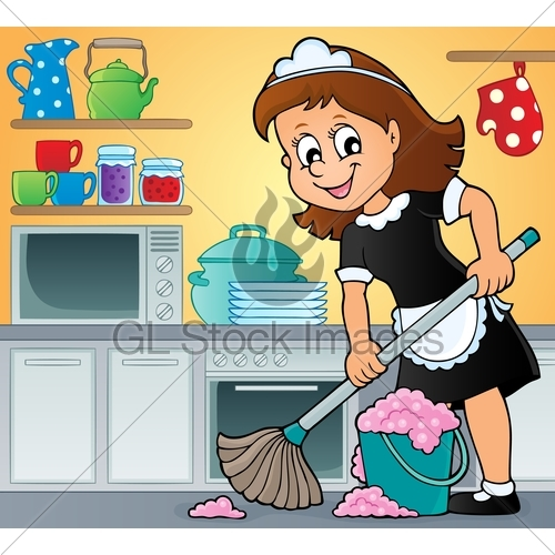 500x500 Cleaning Lady Theme Image 3 Gl Stock Images