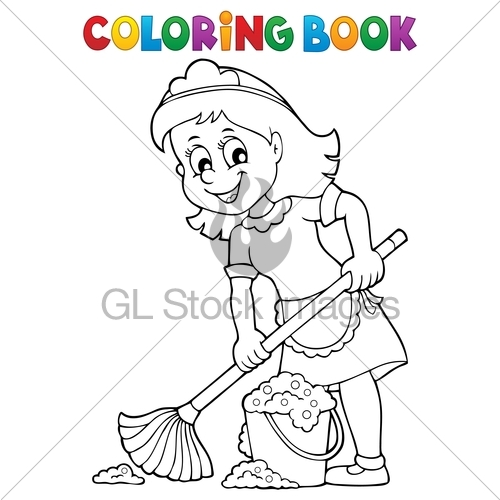500x500 Coloring Book Cleaning Lady 2 Gl Stock Images