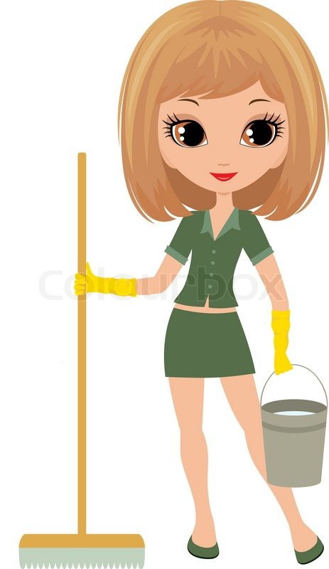 463x800 Girl The Cleaner On A White Background Stock Vector Colourbox