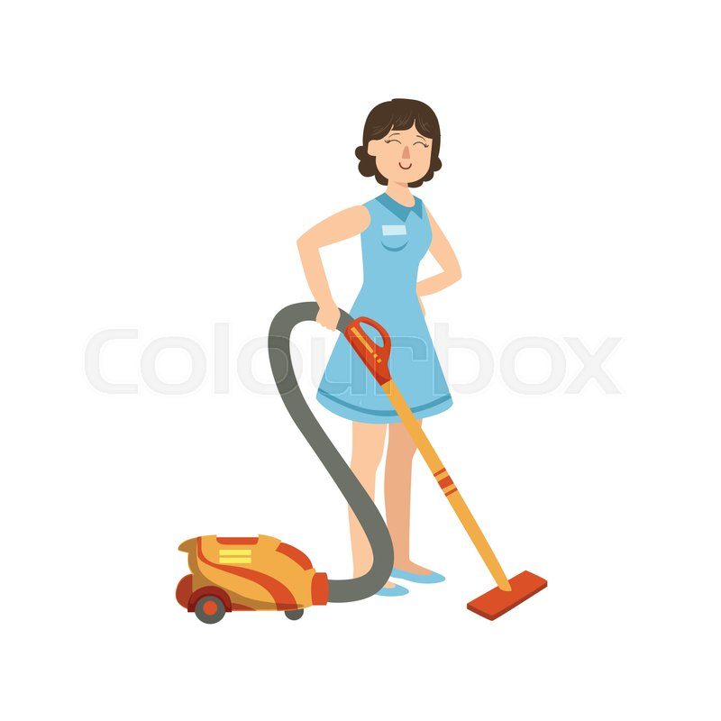 800x800 Hotel Professional Maid Cleaning The Floor With Hoover