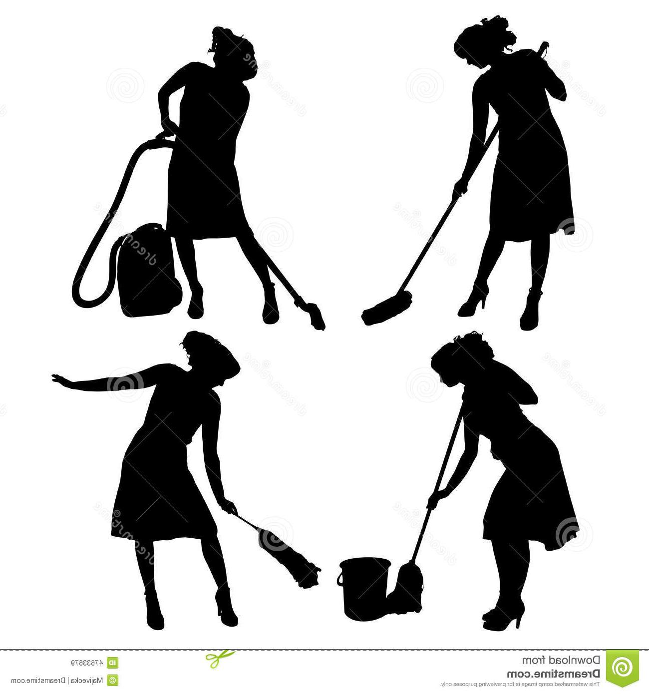 1300x1390 Top 10 Vector Silhouette Cleaning Lady White Background Images