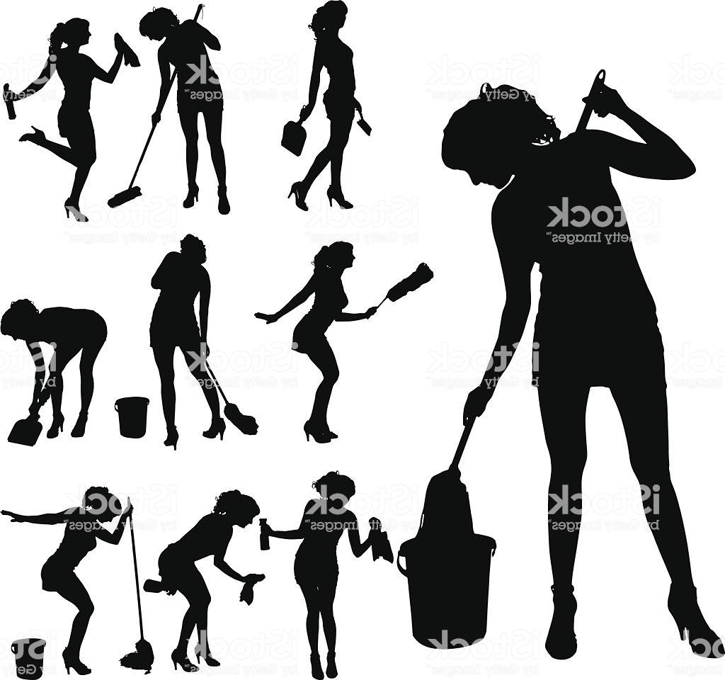1024x960 Unique Vector Silhouette Of Cleaning Lady Image