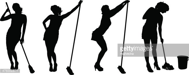655x262 Vector Silhouette Of A Cleaning Premium Clipart