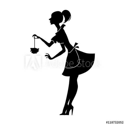 500x500 Vector Silhouette Of A Cleaning Lady With Feather Duster