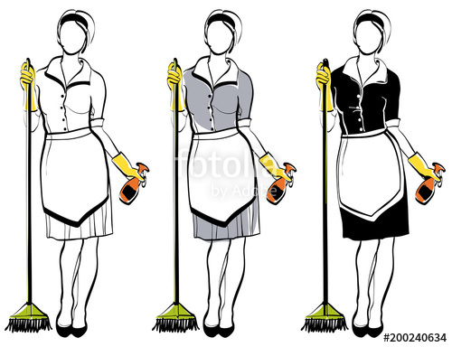 500x384 Maid Or Cleaning Lady, Line Drawing For Your Design, Vector