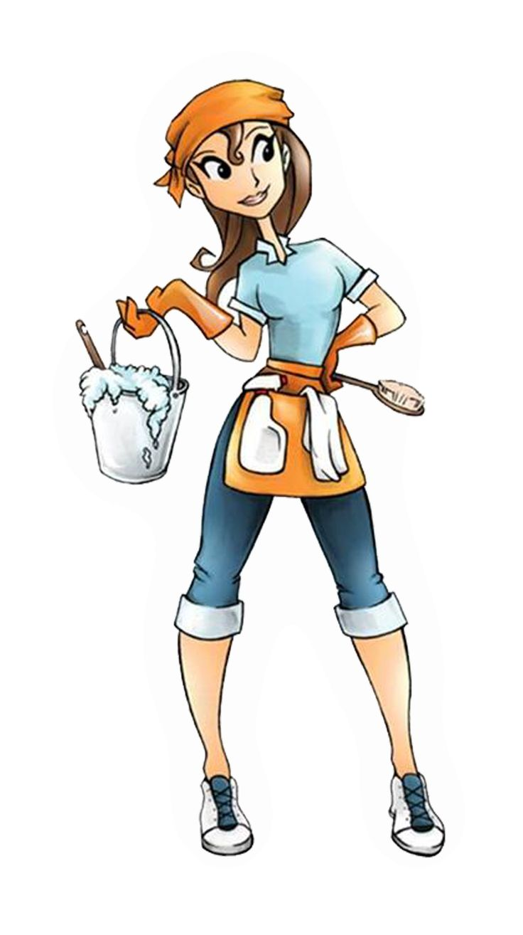 736x1314 Cleaning Lady Image Group With Items