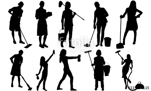 500x300 Cleaning Lady Silhouette Maid Vacuum Vector Cinderella With