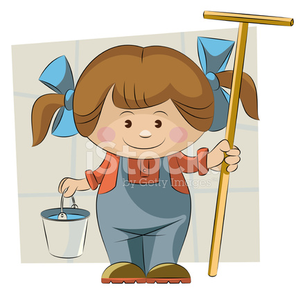 440x440 Cleaning Lady Stock Vector