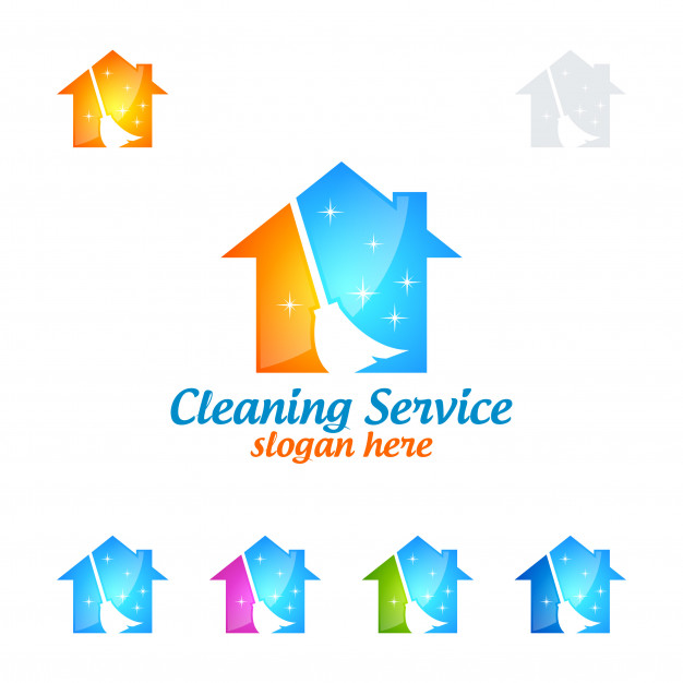 626x626 Cleaning Service Logo Design With House And Broom Vector Premium