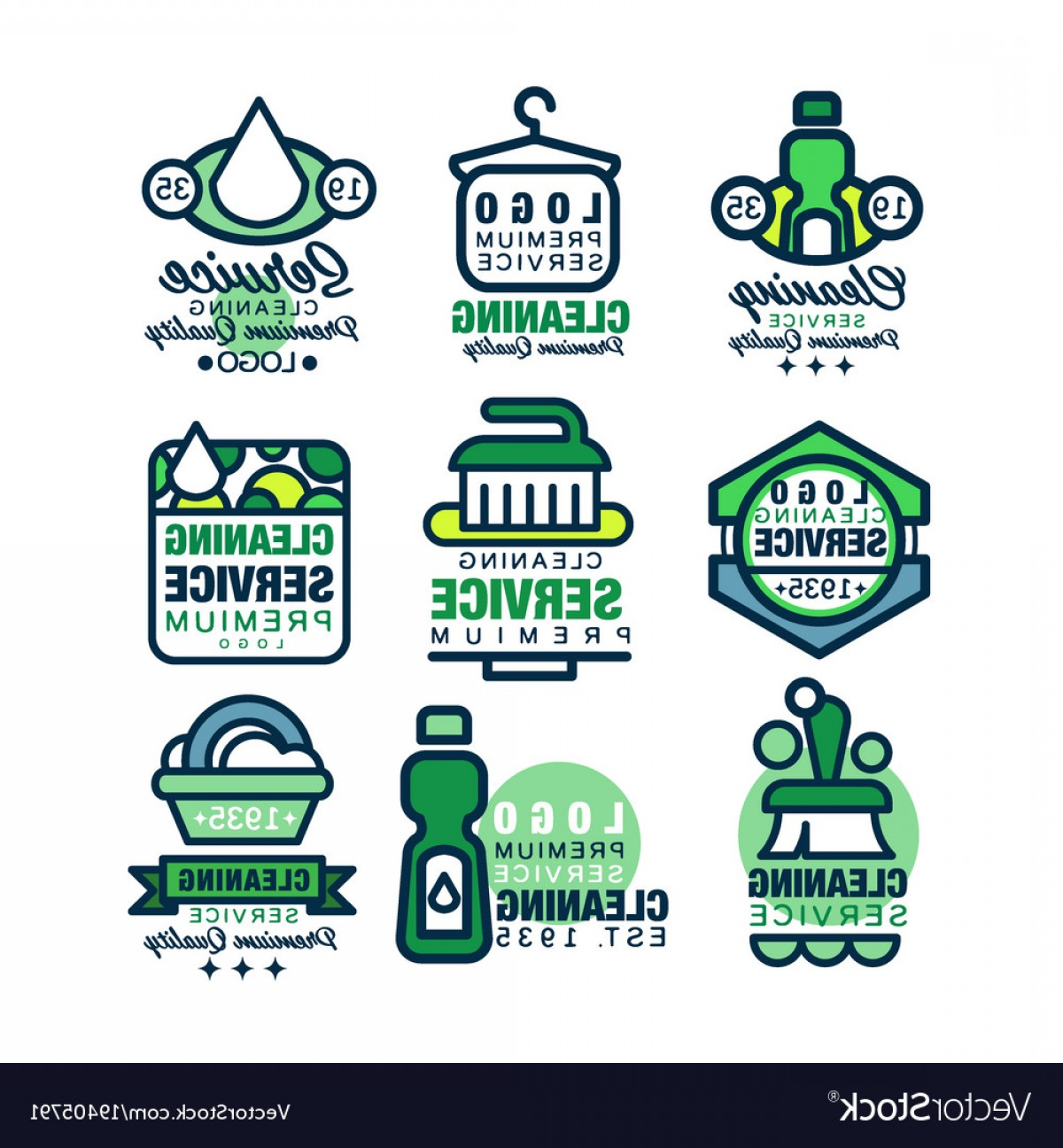 1200x1296 Cleaning Service Premium Quality Logo Template Set Vector Orangiausa