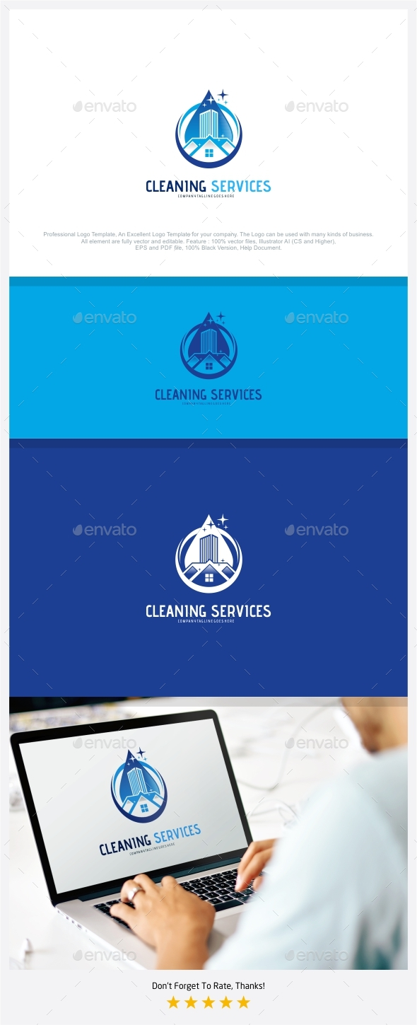 590x1449 Cleaning Services Logo By Putracetol Graphicriver