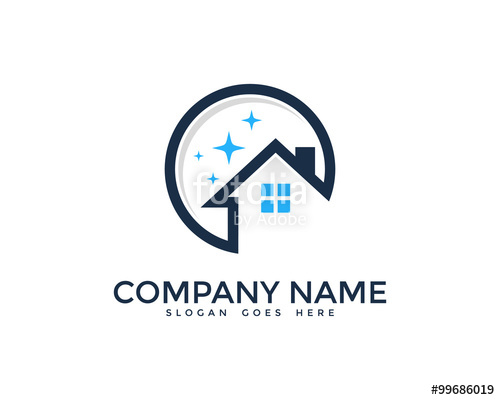 500x400 House Cleaning Service Logo Design Template Stock Image And