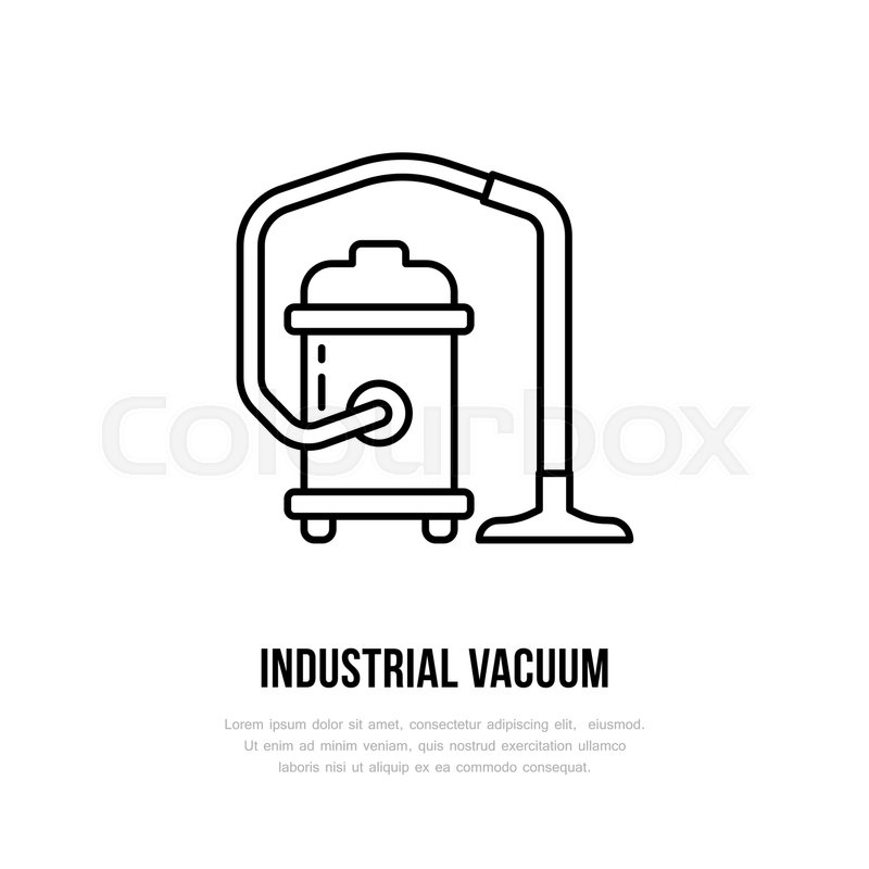 800x800 Industrial Vacuum Cleaner Flat Line Icon, Logo. Vector