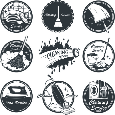 465x465 Vintage Cleaning Service Labels Vector Free Vector In Encapsulated