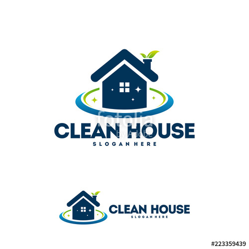 500x500 Clean House Logo Designs With Nature Leaf, Cleaning Service Logo