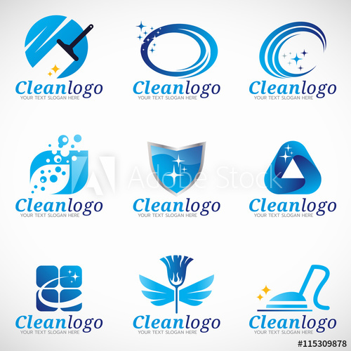 500x500 Clean And Housekeeping Service Logo Vector Set Design
