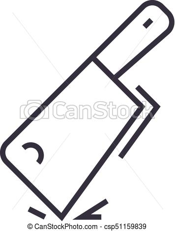 356x470 Cleaver Vector Line Icon, Sign, Illustration On Background