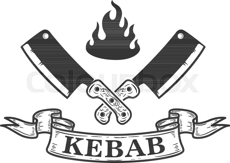 800x567 Kebab. Emblem Template With Crossed Meat Cleaver. Design Element