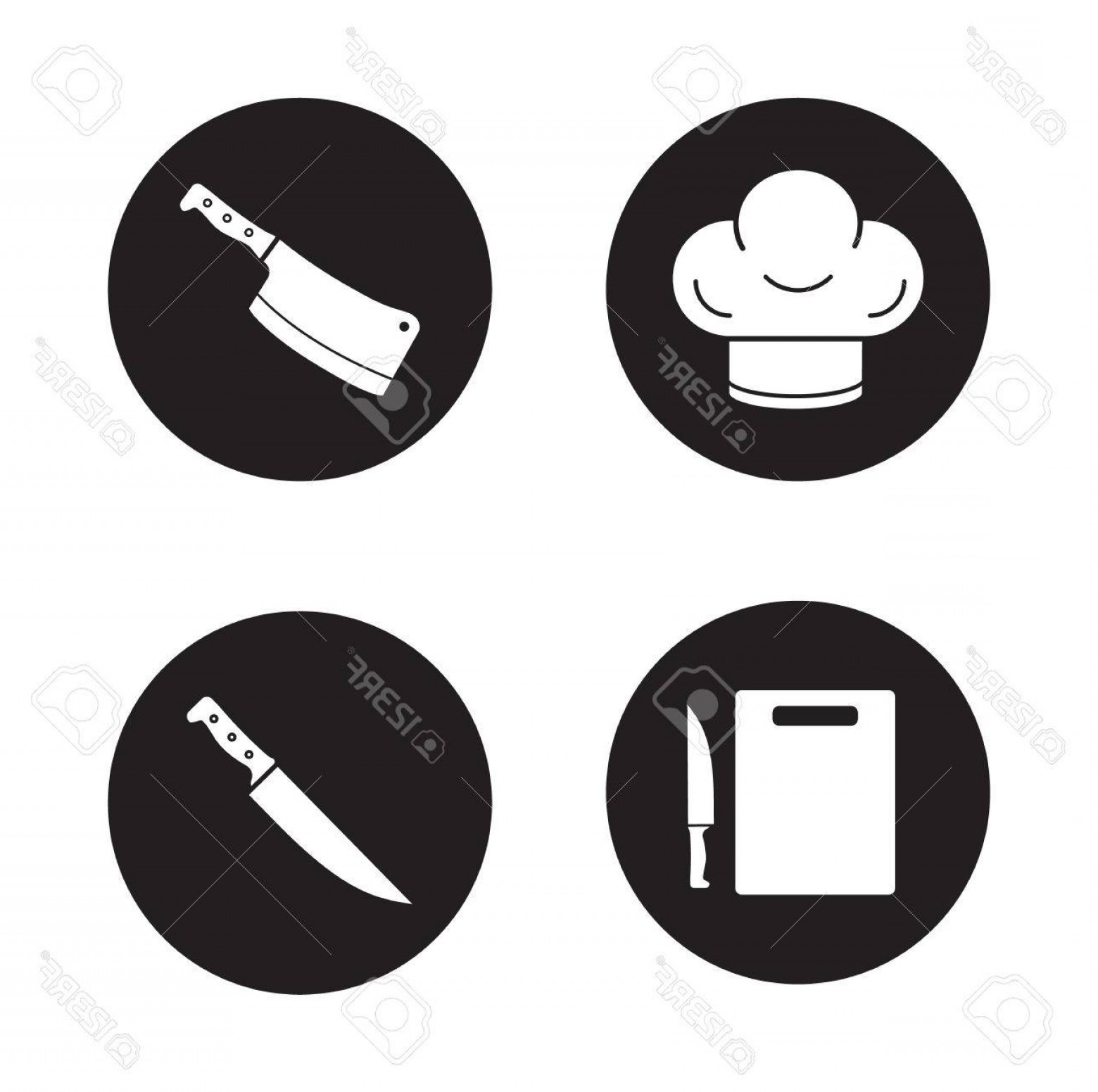 1560x1552 Photostock Vector Chef Cooking Tools Black Icons Set Chef S Hat