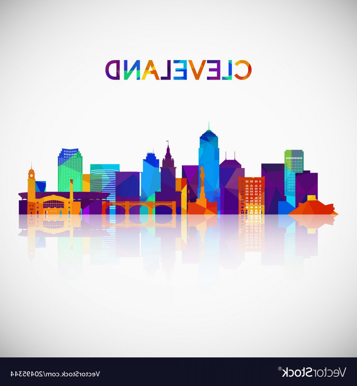 1200x1296 Cleveland Skyline Silhouette In Colorful Vector Sohadacouri
