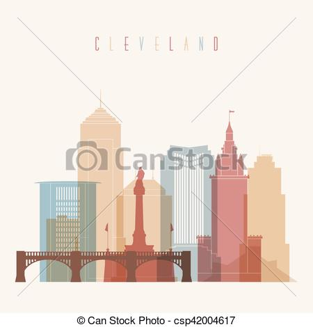 450x470 Cleveland Skyline City Multicolor Silhouette. Colorful... Vector