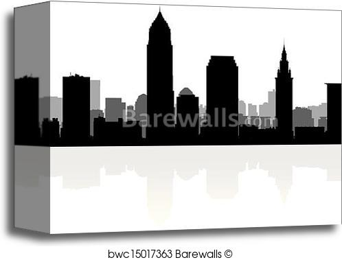 498x379 Canvas Print Of Cleveland City Skyline Silhouette Barewalls