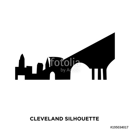500x500 Cleveland Silhouette On White Background Stock Image And Royalty