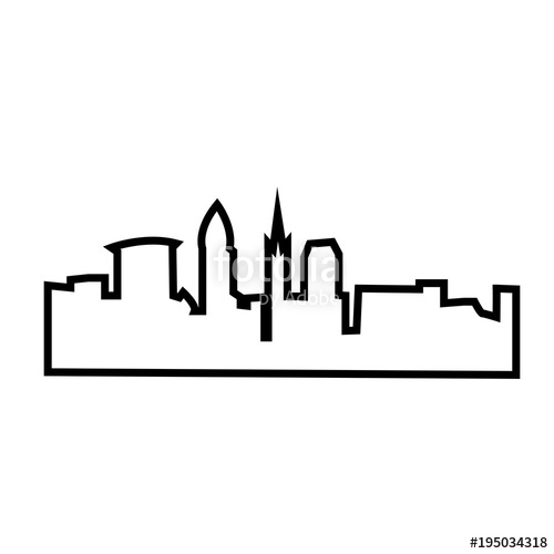 500x500 Cleveland Silhouette Outline On White Background Stock Image And