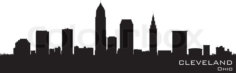 800x248 Cleveland, Ohio Detailed Vector Silhouette Stock Vector Colourbox