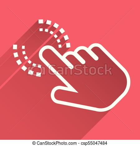 450x470 Click Hand Icon. Cursor Finger Sign Flat Vector. Illustration With