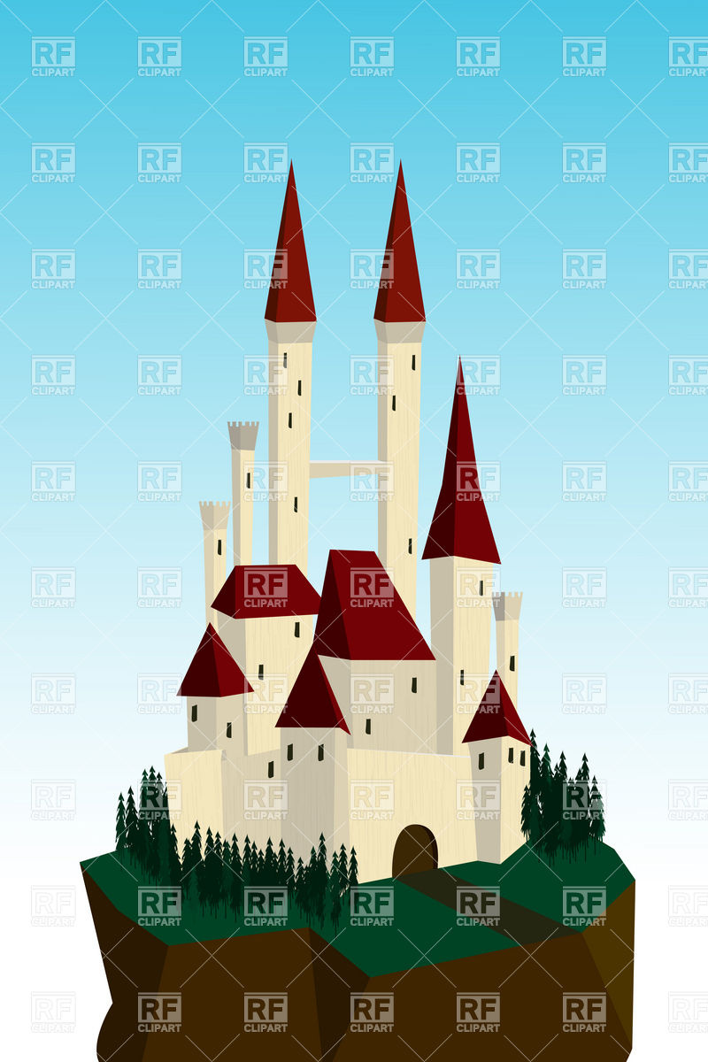 800x1200 Fairy Tale White Castle On A Cliff Vector Image Vector Artwork