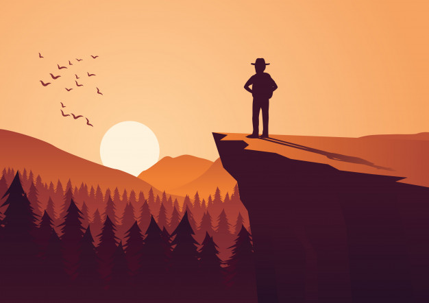 626x442 Man Take Adventure In Jungle,stand On Cliff Vector Premium Download