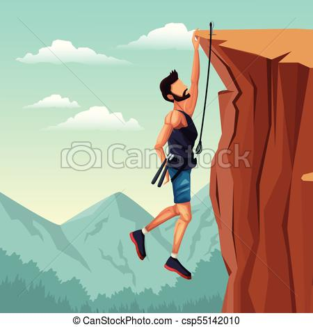 450x470 Scene Landscape Man Hanging On The Cliff Rock Climbing Vector