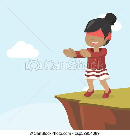 450x470 African Businesswoman Walking Blind Into Cliff Vector Illustration