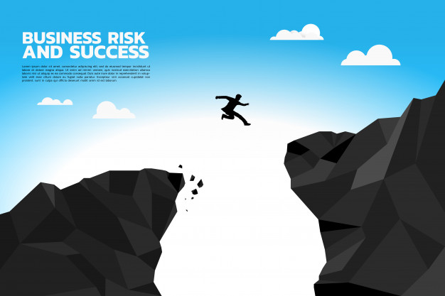626x417 Silhouette Of Businessman Jump To Higher Cliff. Vector Premium