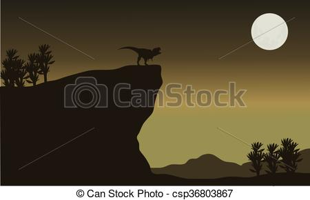 450x290 Silhouette Of Tyrannosaurus In Cliff With Moon.