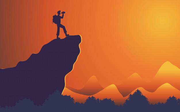 626x391 Silhouette Traveler Man Standing On Mountain Cliff Vector