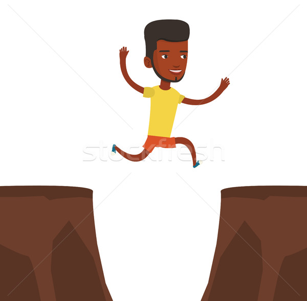 600x589 Sportsman Jumping Over Cliff Vector Illustration Vector