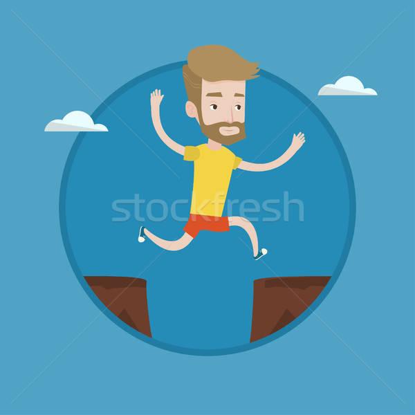 600x600 Sportsman Jumping Over Cliff Vector Illustration. Vector