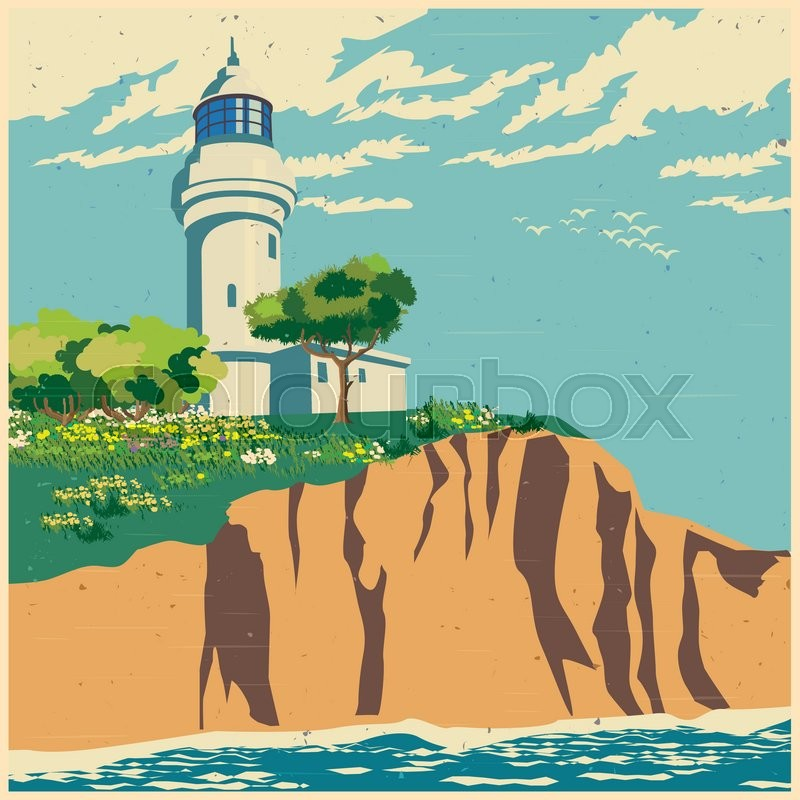 800x800 Stylized Vector Illustration Of A Lighthouse On A Cliff Stock
