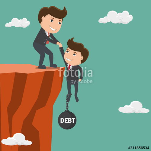 500x500 Businessman Helping His Friend Pull Up On The Cliff. Vector