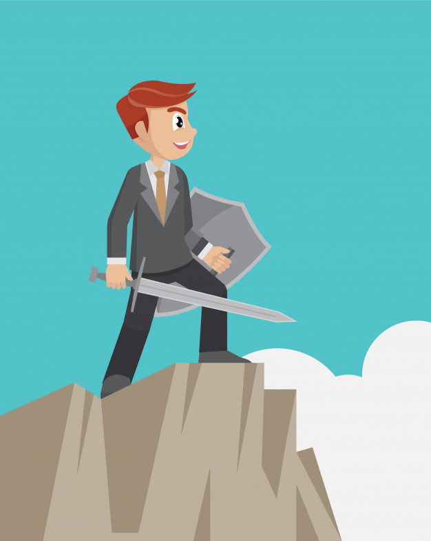 626x786 Businessman Holding A Sword And Shield On Top Of Cliff. Vector