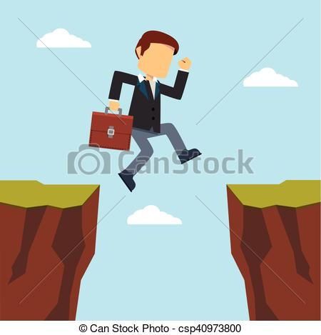 450x469 Businessman Jumping To Cliff.